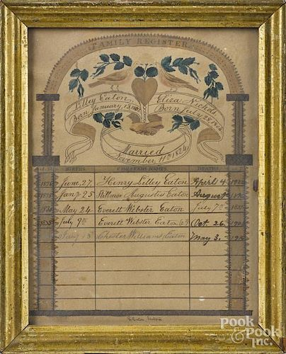 Massachusetts ink and watercolor family register for Lilley Eaton and Eliza Nichols, married 1824