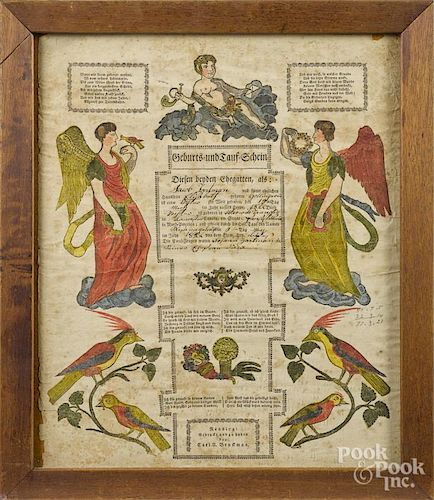 Two Reading, Pennsylvania printed and hand colored fraktur, 19th c., 15 1/2'' x 13''.