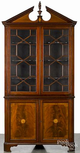 Federal style inlaid mahogany two-part corner cupboard, 86'' h., 40'' w.