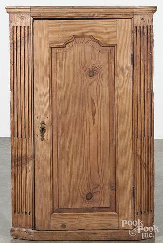 Pine hanging corner cupboard, 19th c., 45'' h., 27 1/2'' w.