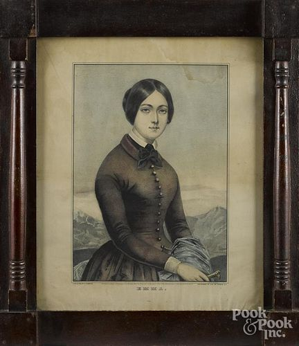 N. Currier color lithograph, titled Emma, housed in a period block corner frame