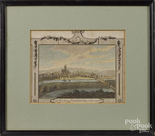 Two early color engraved views of Gloucester and Newbury, 7'' x 8 3/4'' and 4 1/4'' x 6 1/2''.