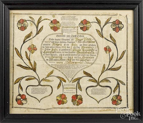 Lebanon, Pennsylvania printed and hand colored fraktur, by Stover, dated 1814, 13 1/4'' x 16 1/4''.