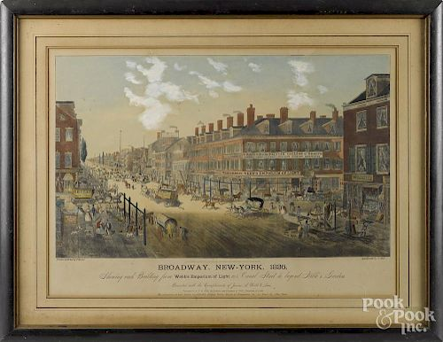 Color engraved view of Broadway, New York, 1836, by T. Hornor, 16 1/4'' x 27''.