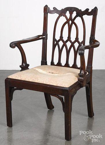 George III style mahogany armchair, 19th c.