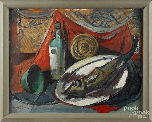 Frederick Gill (American 1906-1974), oil on board still life, titled Wine and Dead Fish, signed