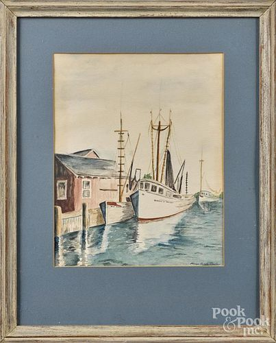 Watercolor harbor scene, signed Byrd Taylor, 13 1/2'' x 11''.