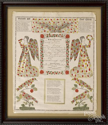 Two Allentown printed and hand colored fraktur, 19th c., 17'' x 14'' and 16 1/4'' x 13 1/2''.