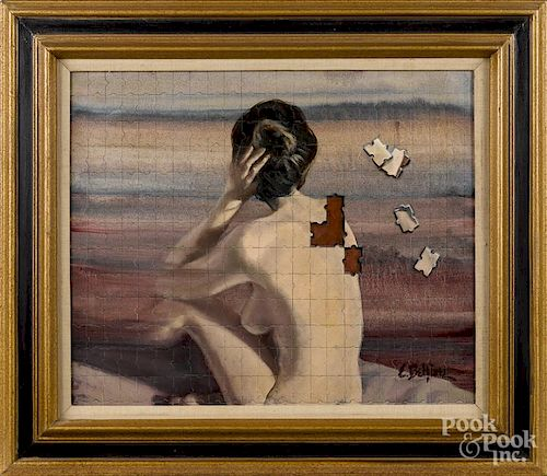 Edith Belfiore (American 20th c.), oil on canvas, titled A Woman of Many Parts, signed lower right