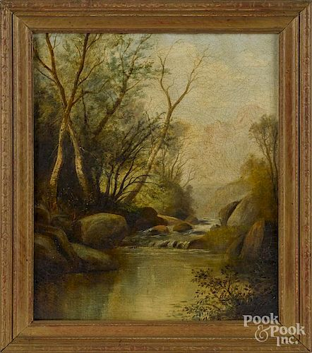 American oil on canvas landscape, late 19th c., with a river, 12'' x 10''.