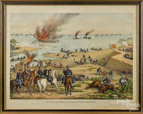 Kurz & Allison, two chromolithographs, titled Battle Between the Monito and Merrimac