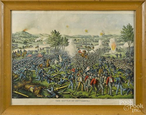 Kurz & Allison, chromolithograph of the Battle of Gettysburg, 17 1/2'' x 24 3/4''.