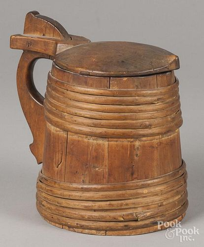 Scandinavian staved wood tankard, late 19th c., 9 1/4'' h.
