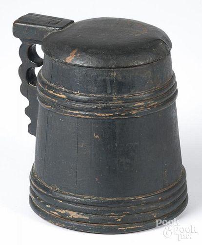 Scandinavian painted tankard, 19th c., 6 3/4'' h.