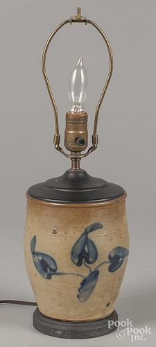 Stoneware crock table lamp, 19th c., with cobalt floral decoration, 7'' h.