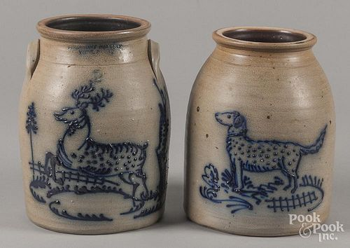 Two Beaumont Pottery stoneware crocks, 10 1/4'' h. and 10 1/2'' h.