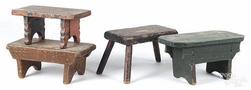 Four primitive painted footstools, late 19th/early 20th c.