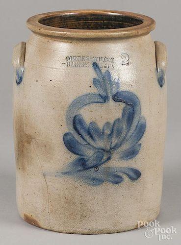 Pennsylvania two-gallon stoneware crock, 19th c., impressed Cowden & Wilcox Harrisburg Pa