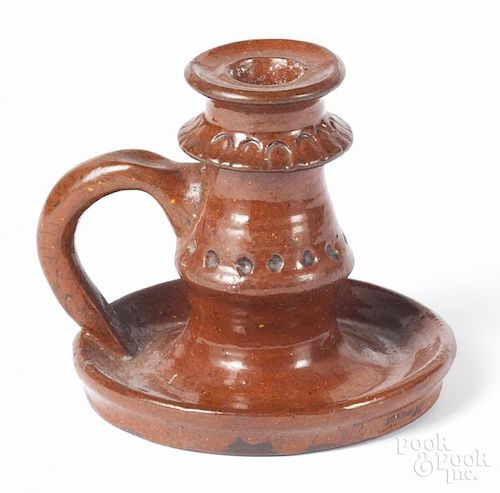 Moravian redware candlestick, early 19th c., 4 1/2'' h.