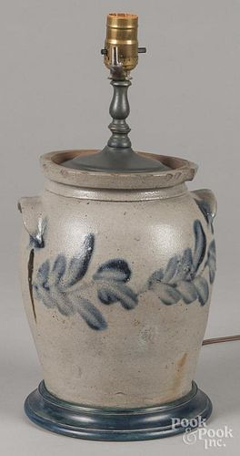 Pennsylvania stoneware crock table lamp, 19th c., with cobalt decoration, 9 3/4'' h.