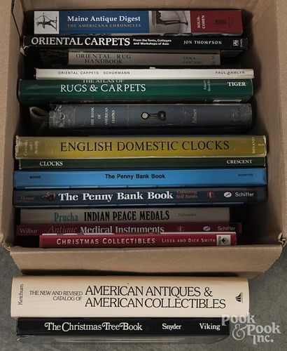 Reference books on clocks, textiles, etc.