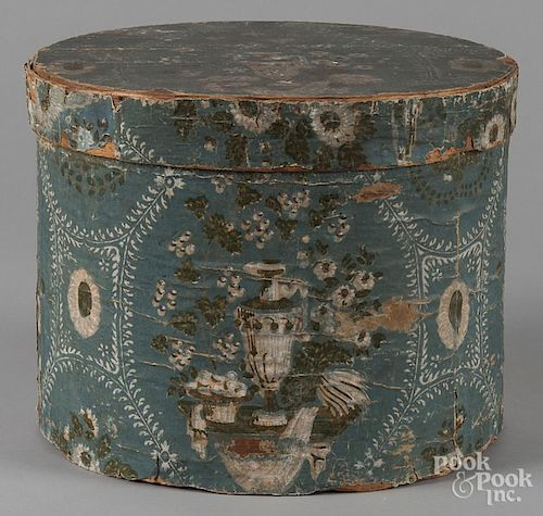 Wallpapered covered hat box, 19th c., 12 1/2'' h., 15 1/2'' w.
