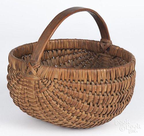 Split oak basket, 19th c., 9 1/2'' h., 10'' w.