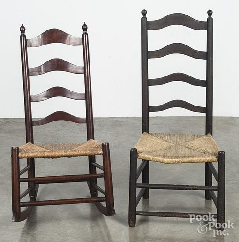 Two Delaware Valley ladderback chairs, early 19th c.