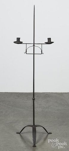 Wrought iron candlestand, early 20th c., 52 1/2'' h.
