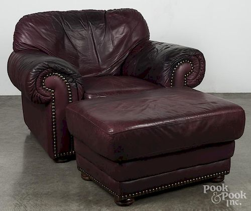 Chesterfield chair and ottoman.