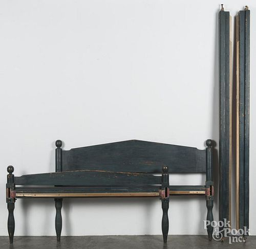Painted rope bed, 19th c., retaining a later blue surface, 36 1/2'' h., 57 1/2'' w., 85'' l.