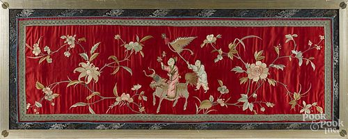 Chinese silkwork panel, 20'' x 55''.