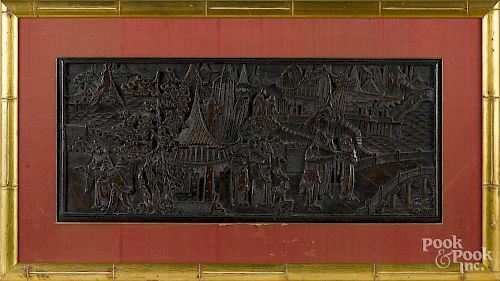 Chinese carved wood panel, early 20th c., 13 1/2'' x 32''.