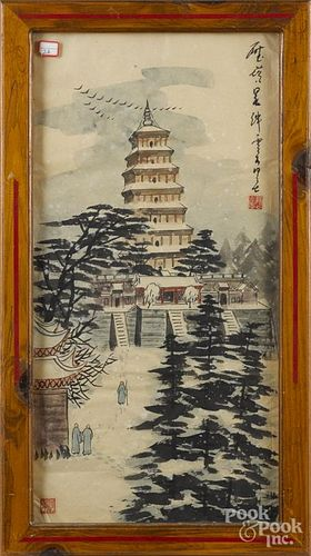 Oriental watercolor of a shrine, 26 1/2'' x 13''.