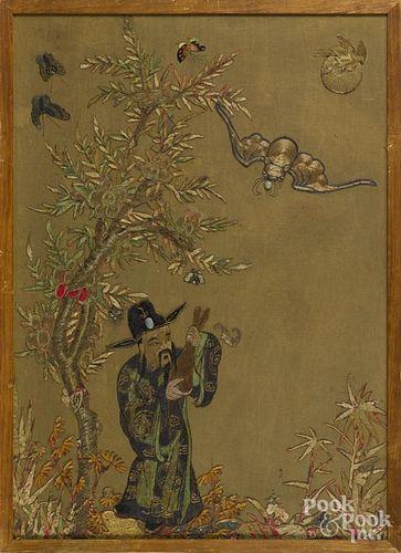 Oriental needlework embroidery, 31 1/2'' x 22 1/2''.