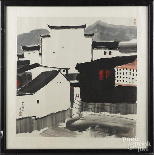 Oriental watercolor town scene, 26 1/2'' x 27''.