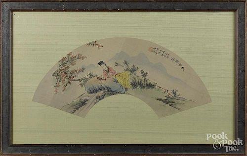 Oriental watercolor figure in a landscape, 10 1/2'' x 24''.