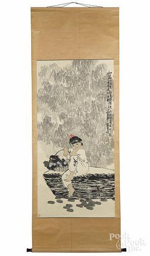Two Oriental watercolor scrolls.