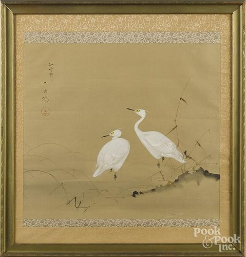 Two Oriental watercolor scrolls, 22 3/4'' x 8 1/2'' and 19'' x 19 1/2''.