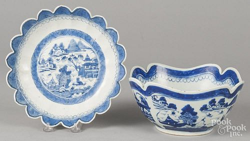 Two Chinese export porcelain Canton scalloped edge bowls, 19th c., 4 3/4'' h., 9 1/4'' dia. and 2'' h.