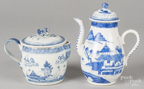 Chinese export porcelain Canton cider jug and teapot, 19th c., 6'' h. and 8 1/2'' h.