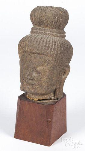 Carved sandstone Buddha head, 8'' h.