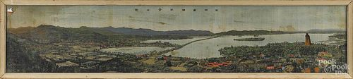 Chinese printed silk panel, 9 1/4'' x 47 1/2''.