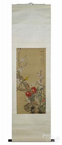 Three Oriental watercolor scrolls.