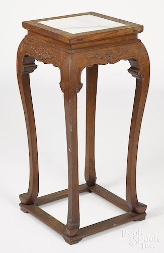 Chinese hardwood stand with marble inset top, 32 1/2'' h., 15'' w.