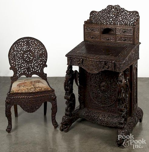 Anglo Indian carved hardwood ladies desk and chair, 19th c.