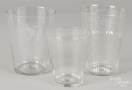 Three etched glass flips, 19th c., 4 3/4'' h. and two - 6'' h.