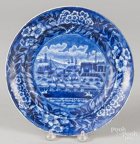 Historical blue Staffordshire Landing of Lafayette plate, 9'' dia.
