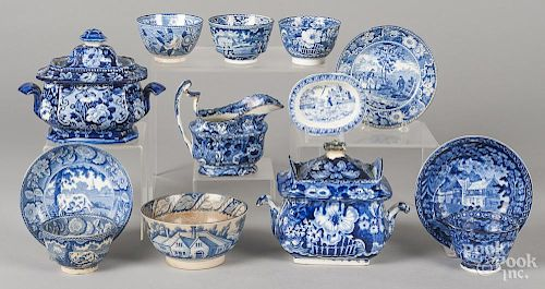 Thirteen pieces of blue Staffordshire teawares.