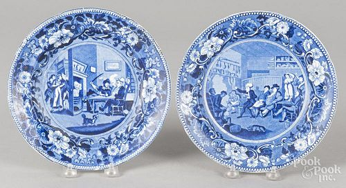 Two blue Staffordshire plates, 19th c., depicting Doctor Syntax Reading his Tour